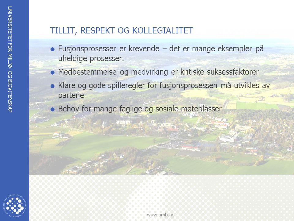 UNIVERSITETET FOR MILJØ- OG BIOVITENSKAP www.umb.no TILLIT, RESPEKT OG KOLLEGIALITET  Fusjonsprosesser er krevende – det er mange eksempler på uheldi