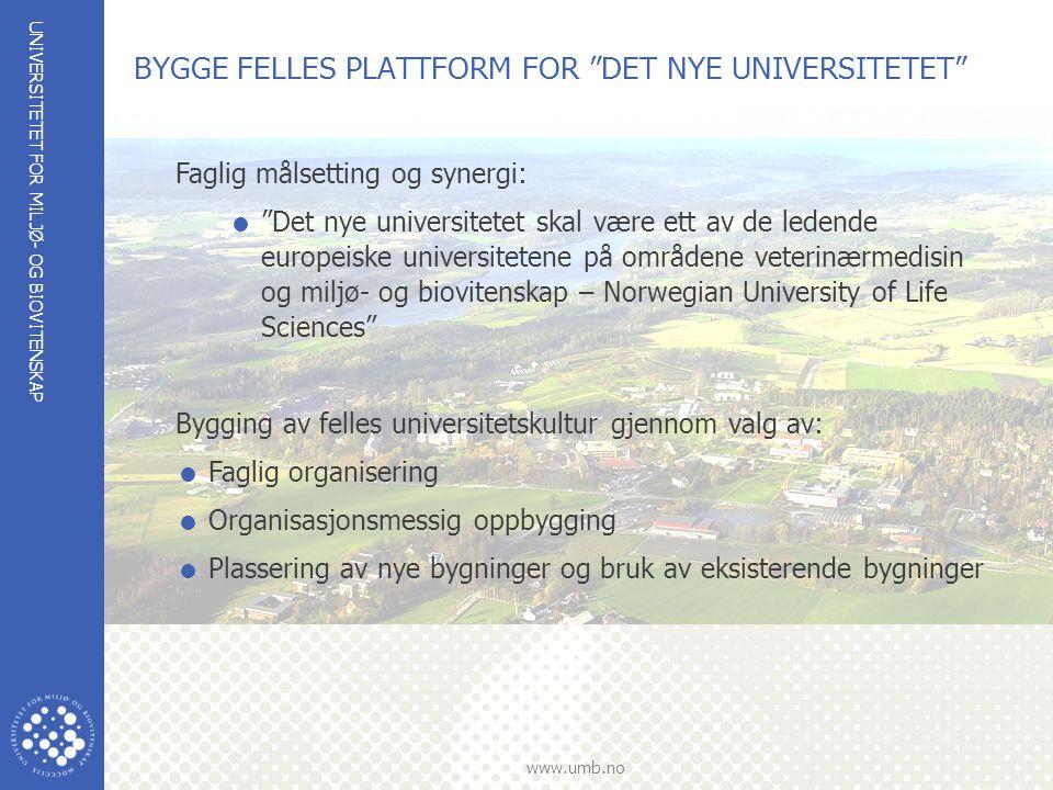 """UNIVERSITETET FOR MILJØ- OG BIOVITENSKAP www.umb.no BYGGE FELLES PLATTFORM FOR """"DET NYE UNIVERSITETET"""" Faglig målsetting og synergi:  """"Det nye univer"""
