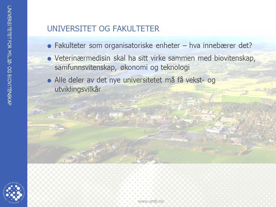 UNIVERSITETET FOR MILJØ- OG BIOVITENSKAP www.umb.no UNIVERSITET OG FAKULTETER  Fakulteter som organisatoriske enheter – hva innebærer det?  Veterinæ