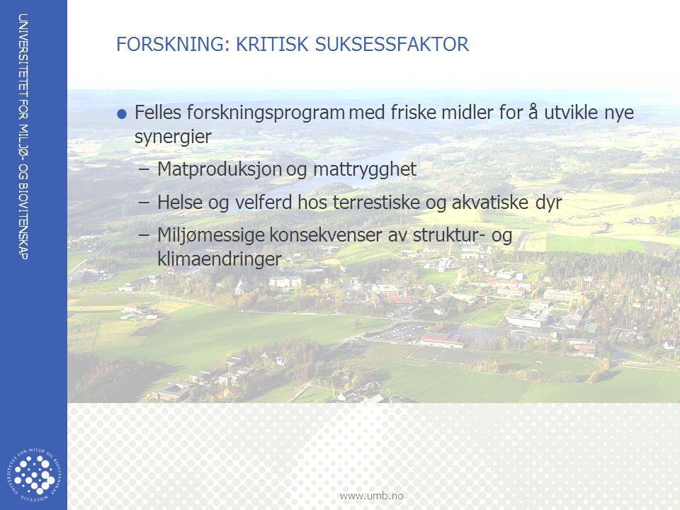 UNIVERSITETET FOR MILJØ- OG BIOVITENSKAP www.umb.no FORSKNING: KRITISK SUKSESSFAKTOR  Felles forskningsprogram med friske midler for å utvikle nye sy