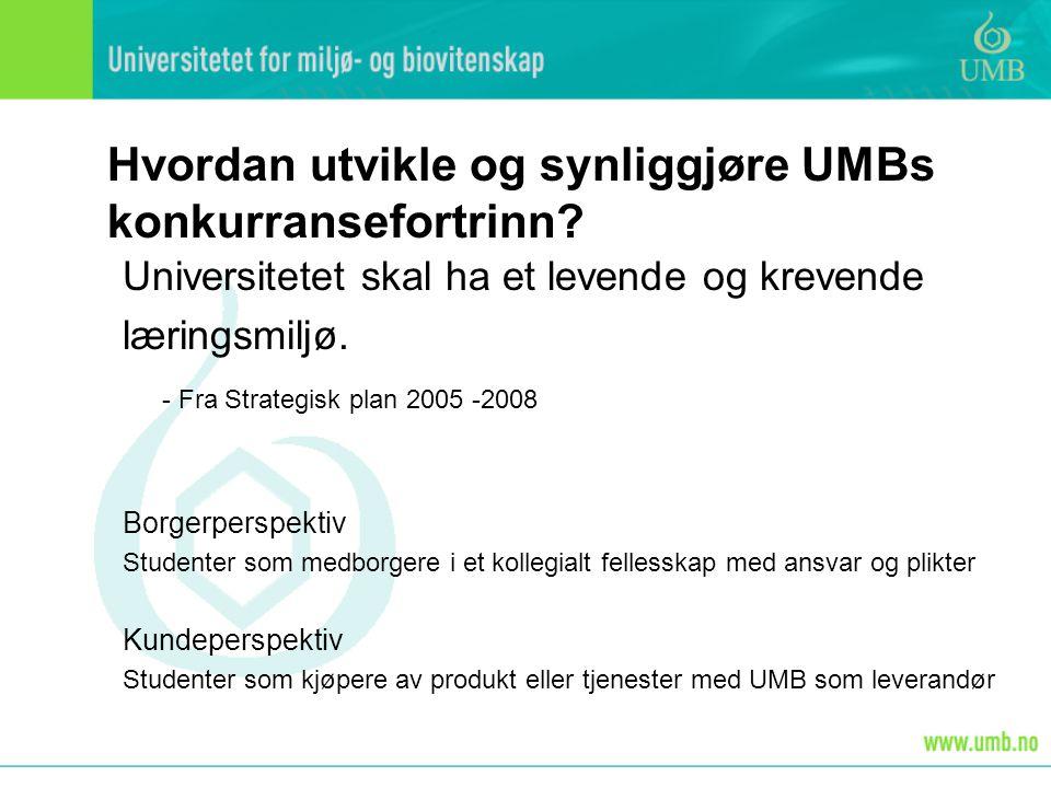 Hvordan utvikle og synliggjøre UMBs konkurransefortrinn.
