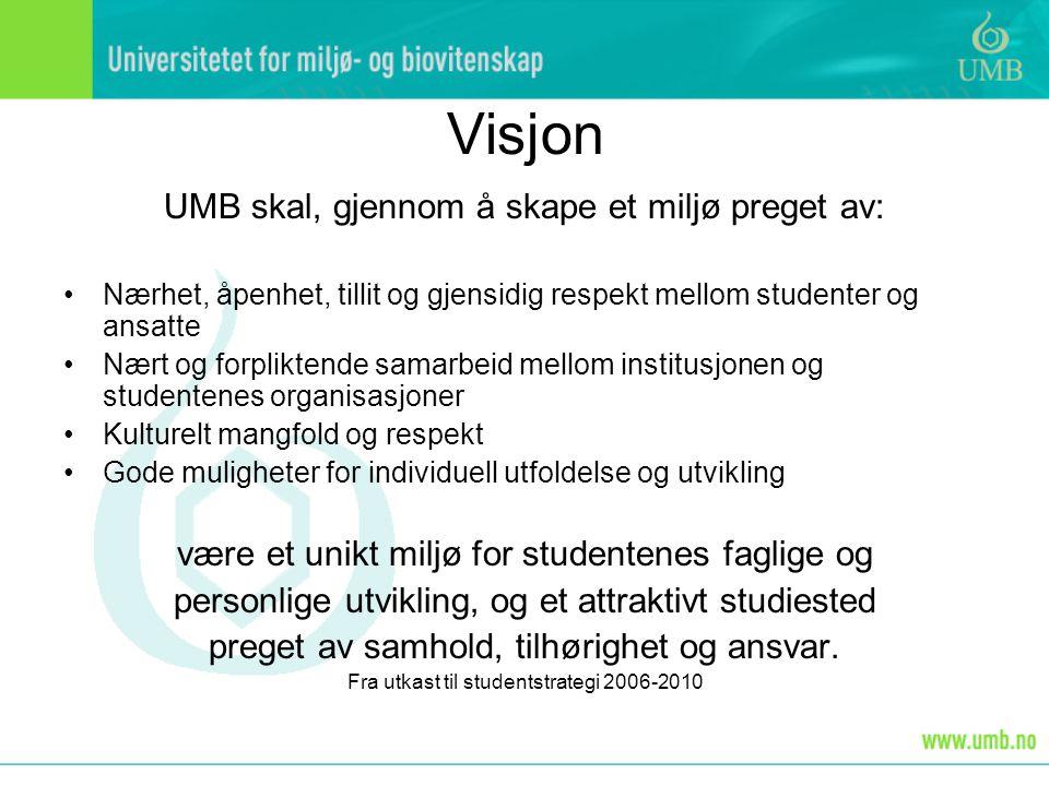 Visjon UMB skal, gjennom å skape et miljø preget av: Nærhet, åpenhet, tillit og gjensidig respekt mellom studenter og ansatte Nært og forpliktende sam