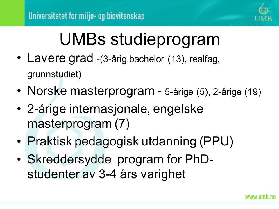 UMBs studieprogram Lavere grad -(3-årig bachelor (13), realfag, grunnstudiet) Norske masterprogram - 5-årige (5), 2-årige (19) 2-årige internasjonale,