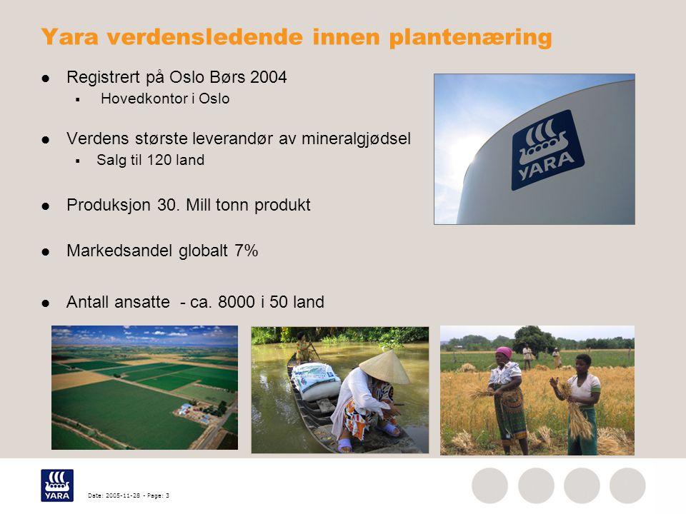 Date: 2005-11-28 - Page: 3 Yara verdensledende innen plantenæring Registrert på Oslo Børs 2004  Hovedkontor i Oslo Verdens største leverandør av mine