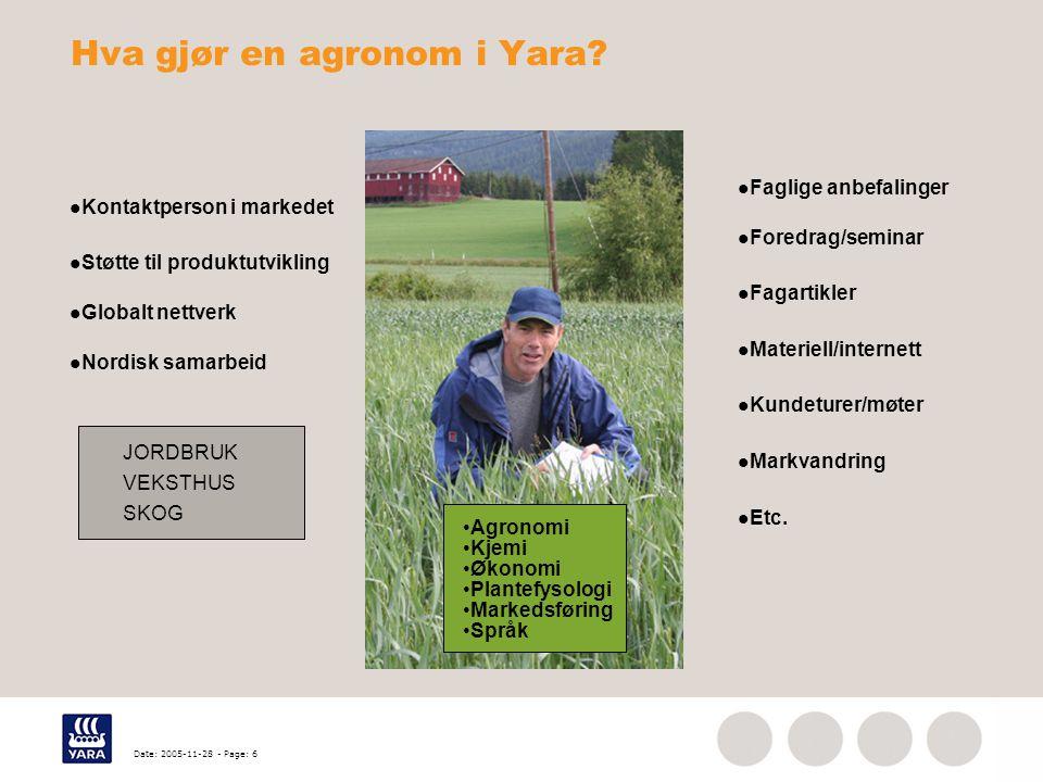 Date: 2005-11-28 - Page: 6 Hva gjør en agronom i Yara? Kontaktperson i markedet Støtte til produktutvikling Globalt nettverk Nordisk samarbeid Faglige