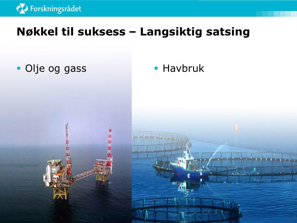 Nøkkel til suksess – Langsiktig satsing  Olje og gass  Havbruk