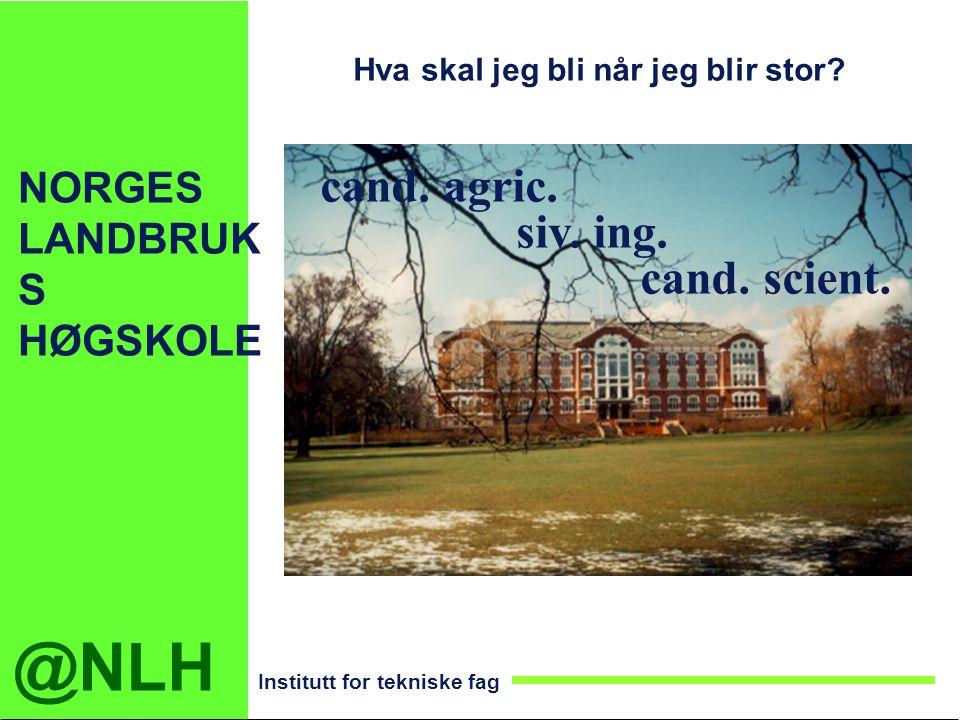 @NLH Institutt for tekniske fag NORGES LANDBRUK S HØGSKOLE cand. agric. cand. scient. siv. ing. Hva skal jeg bli når jeg blir stor?