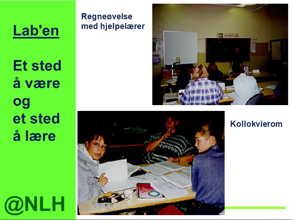 @NLH Institutt for tekniske fag Lab'en Et sted å være og et sted å lære Regneøvelse med hjelpelærer Kollokvierom