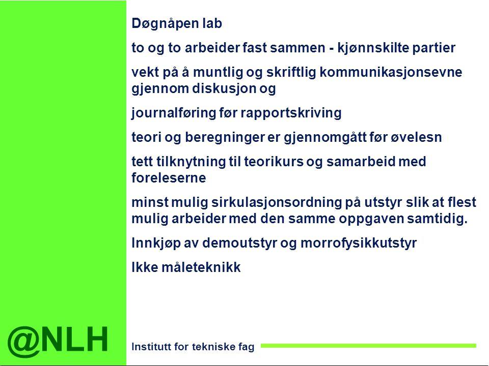 @NLH Institutt for tekniske fag Døgnåpen lab to og to arbeider fast sammen - kjønnskilte partier vekt på å muntlig og skriftlig kommunikasjonsevne gje