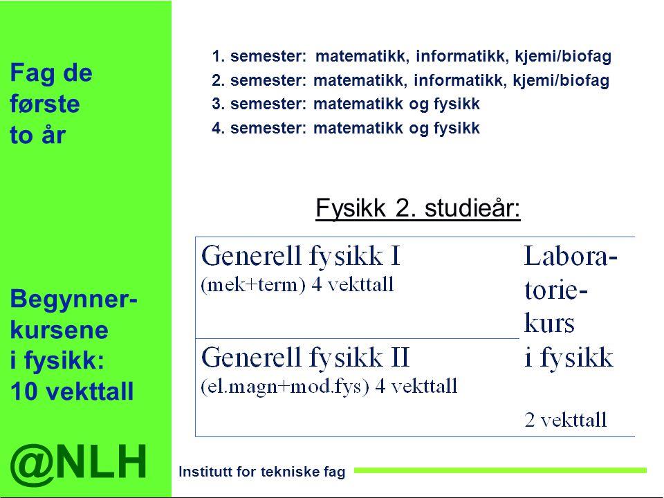 @NLH Institutt for tekniske fag Fag de første to år Begynner- kursene i fysikk: 10 vekttall 1. semester:matematikk, informatikk, kjemi/biofag 2. semes