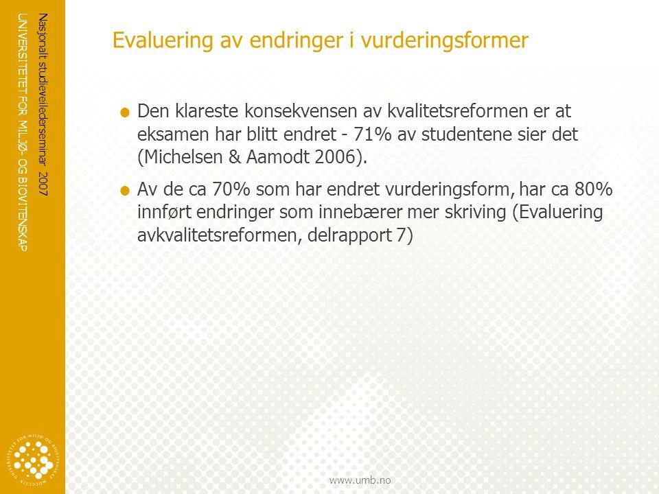UNIVERSITETET FOR MILJØ- OG BIOVITENSKAP www.umb.no Nasjonalt studieveilederseminar 2007 Evaluering av endringer i vurderingsformer  Den klareste kon