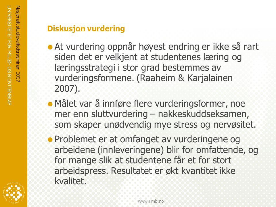 UNIVERSITETET FOR MILJØ- OG BIOVITENSKAP www.umb.no Nasjonalt studieveilederseminar 2007 Diskusjon vurdering  At vurdering oppnår høyest endring er i