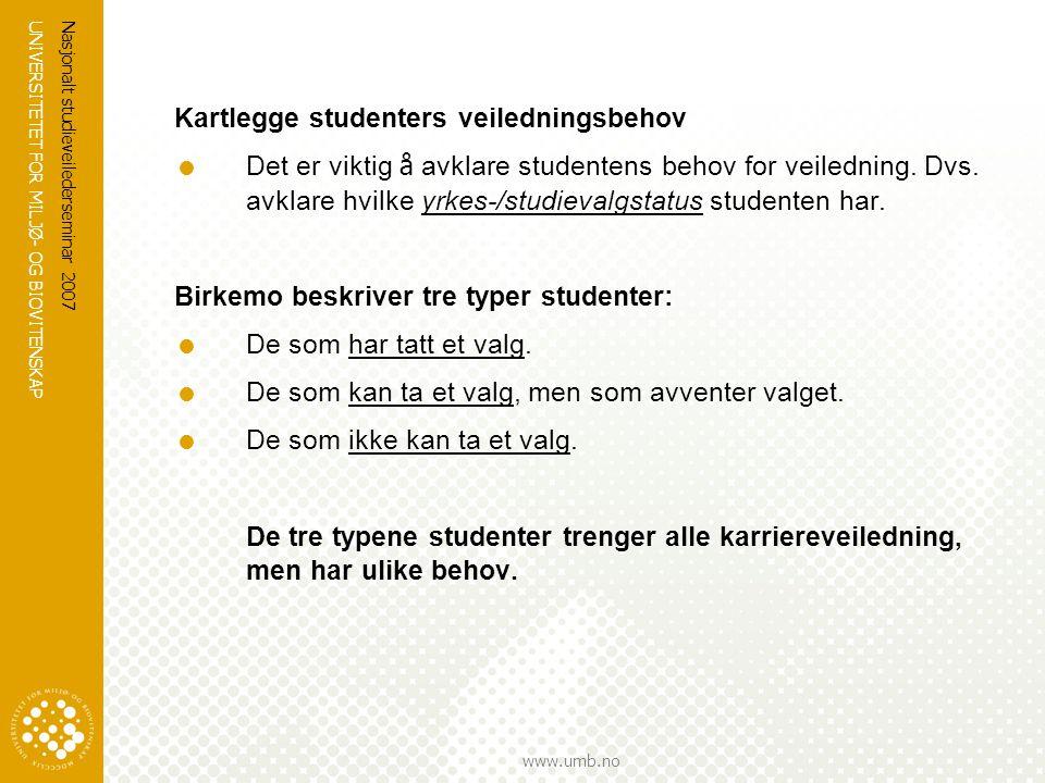 UNIVERSITETET FOR MILJØ- OG BIOVITENSKAP www.umb.no Nasjonalt studieveilederseminar 2007 Kartlegge studenters veiledningsbehov  Det er viktig å avkla