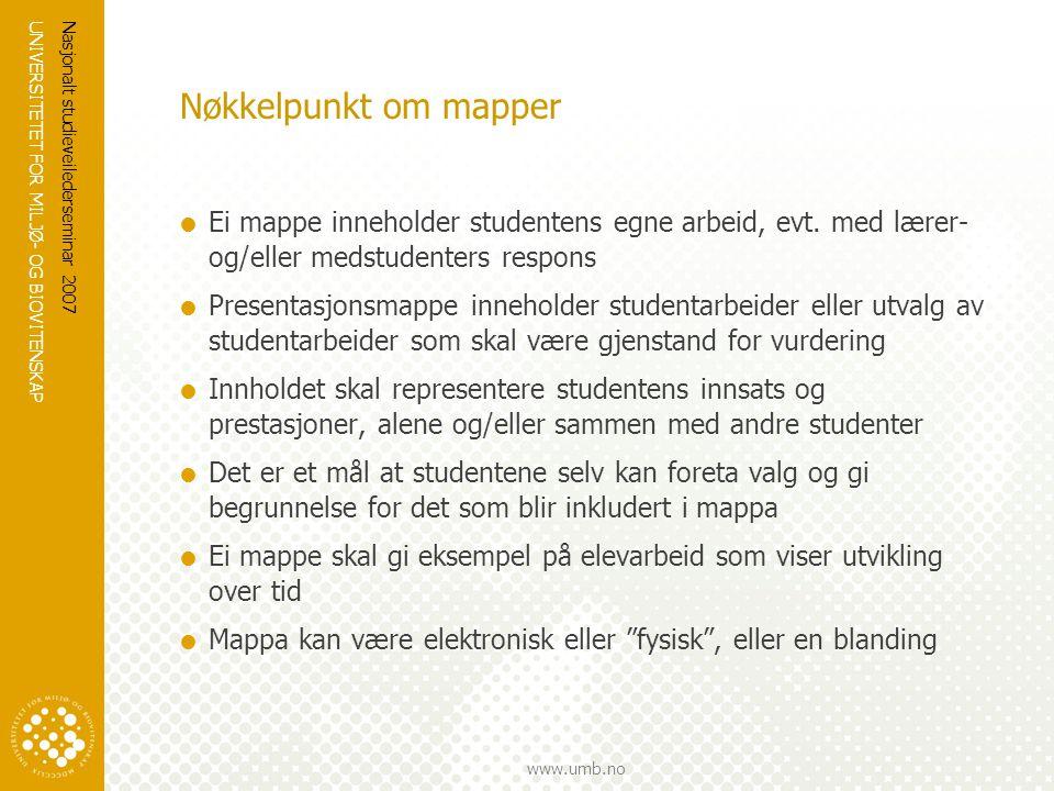 UNIVERSITETET FOR MILJØ- OG BIOVITENSKAP www.umb.no Nasjonalt studieveilederseminar 2007 Nøkkelpunkt om mapper  Ei mappe inneholder studentens egne a