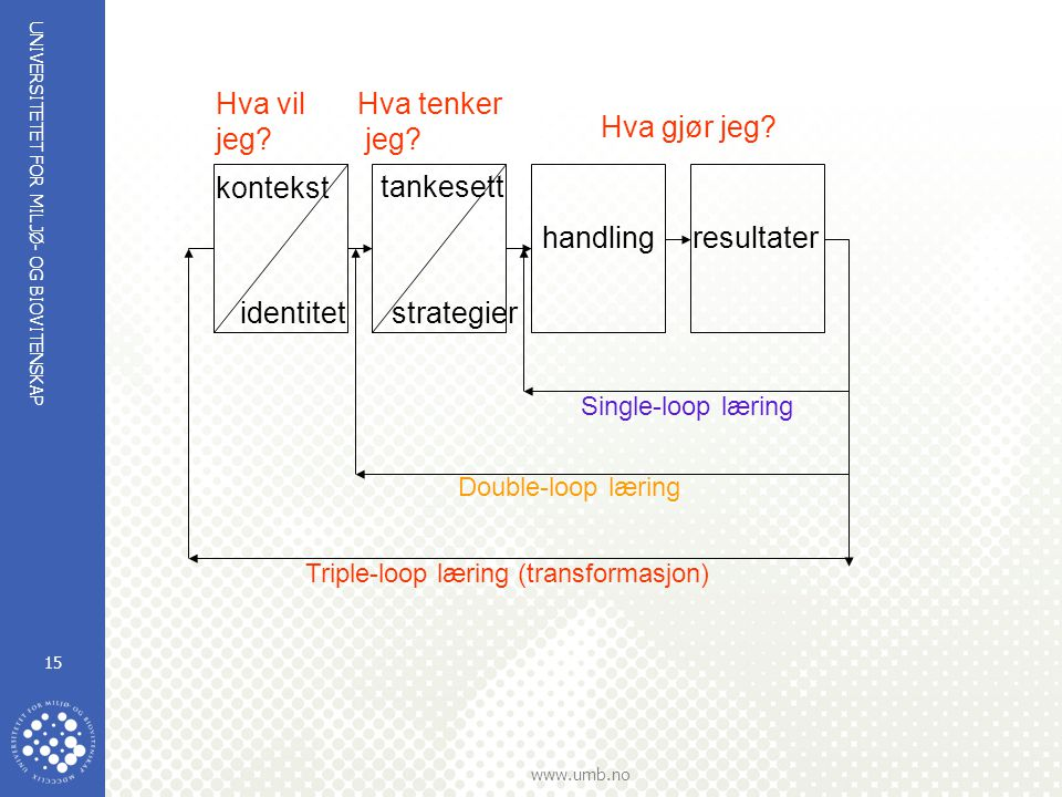 UNIVERSITETET FOR MILJØ- OG BIOVITENSKAP www.umb.no 15 kontekst identitet tankesett strategier handlingresultater Hva vil jeg? Hva tenker jeg? Hva gjø