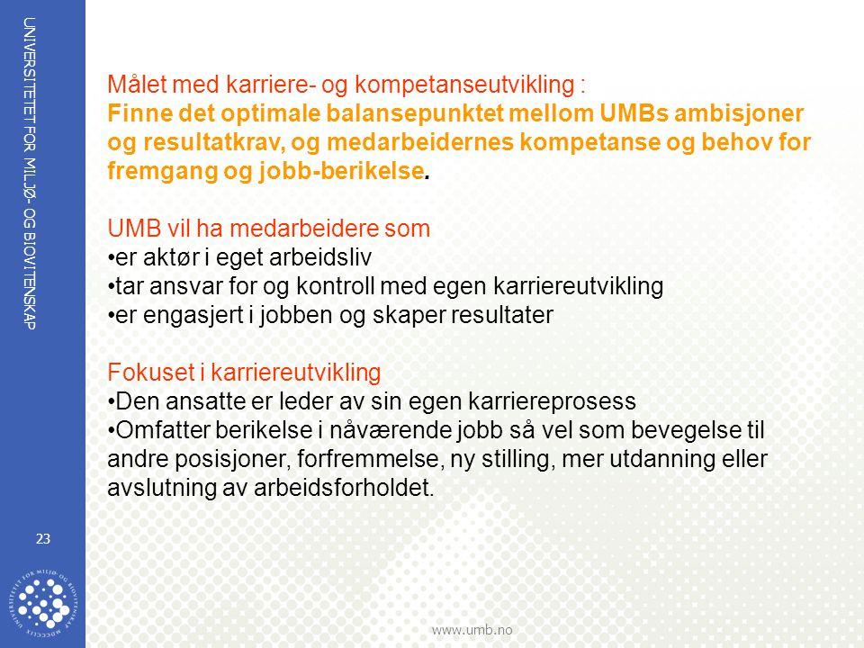 UNIVERSITETET FOR MILJØ- OG BIOVITENSKAP www.umb.no 23 Målet med karriere- og kompetanseutvikling : Finne det optimale balansepunktet mellom UMBs ambisjoner og resultatkrav, og medarbeidernes kompetanse og behov for fremgang og jobb-berikelse.