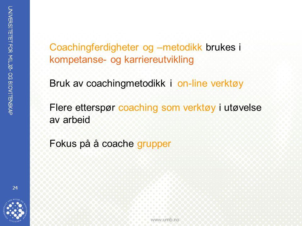 UNIVERSITETET FOR MILJØ- OG BIOVITENSKAP www.umb.no 24 Coachingferdigheter og –metodikk brukes i kompetanse- og karriereutvikling Bruk av coachingmetodikk i on-line verktøy Flere etterspør coaching som verktøy i utøvelse av arbeid Fokus på å coache grupper