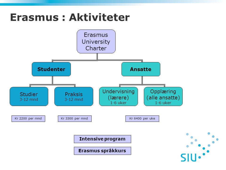 Erasmus University Charter Studenter Studier 3-12 mnd Praksis 3-12 mnd Ansatte Undervisning (lærere) 1-6 uker Opplæring (alle ansatte) 1-6 uker Erasmus : Aktiviteter Kr 6400 per ukeKr 3300 per mndKr 2200 per mnd Intensive program Erasmus språkkurs