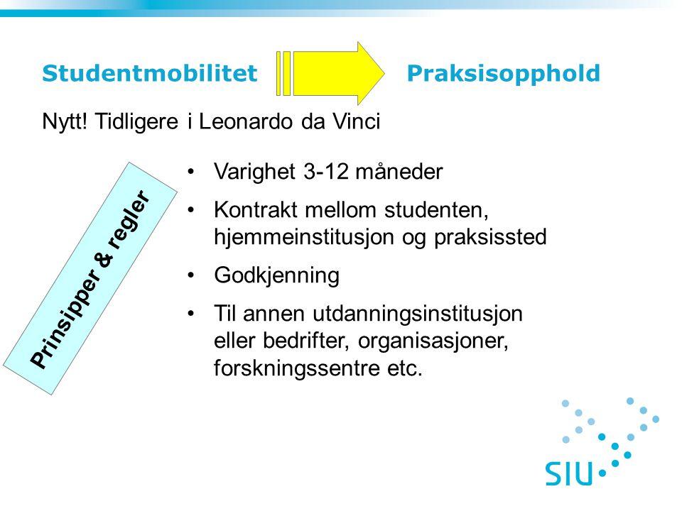Studentmobilitet Praksisopphold Varighet 3-12 måneder Kontrakt mellom studenten, hjemmeinstitusjon og praksissted Godkjenning Til annen utdanningsinst