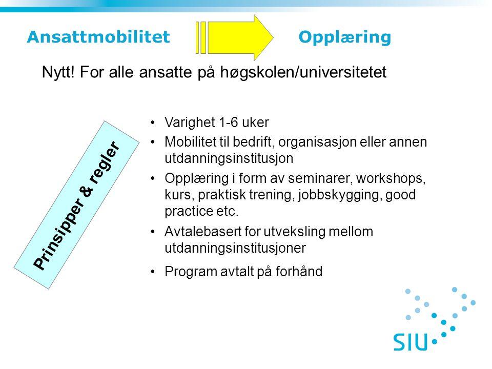 Varighet 1-6 uker Mobilitet til bedrift, organisasjon eller annen utdanningsinstitusjon Opplæring i form av seminarer, workshops, kurs, praktisk treni