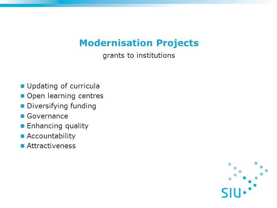 Modernisation Projects grants to institutions Updating of curricula Open learning centres Diversifying funding Governance Enhancing quality Accountability Attractiveness