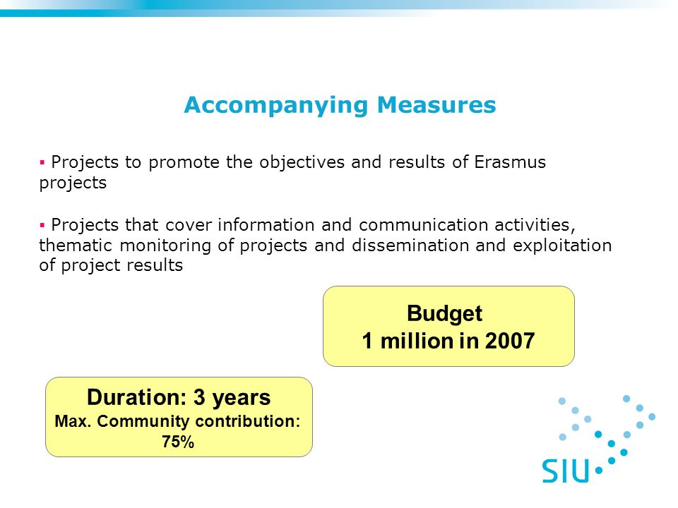 Accompanying Measures Budget 1 million in 2007  Projects to promote the objectives and results of Erasmus projects  Projects that cover information and communication activities, thematic monitoring of projects and dissemination and exploitation of project results Duration: 3 years Max.