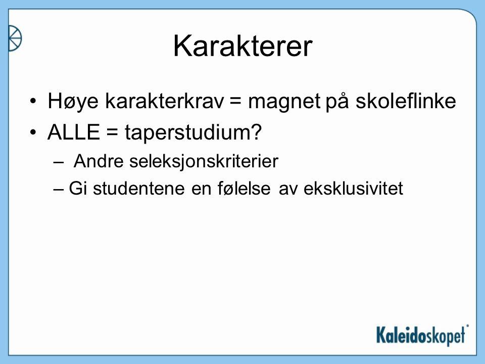 Karakterer Høye karakterkrav = magnet på skoleflinke ALLE = taperstudium.