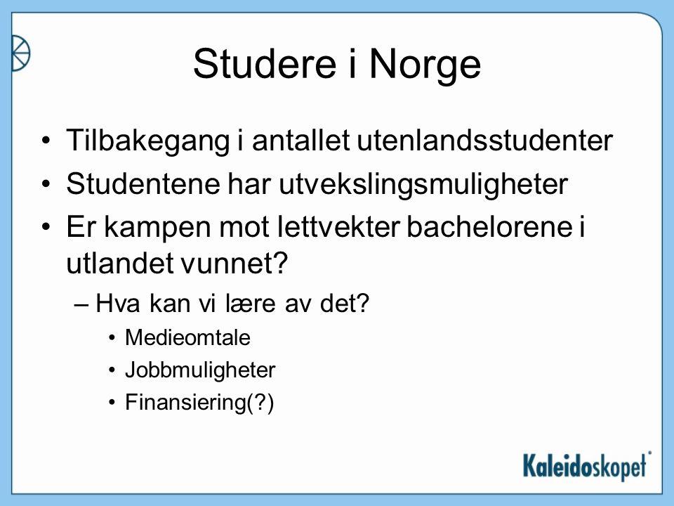 Studere i Norge Tilbakegang i antallet utenlandsstudenter Studentene har utvekslingsmuligheter Er kampen mot lettvekter bachelorene i utlandet vunnet.
