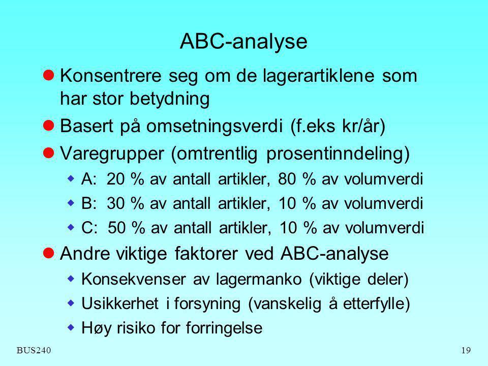 BUS24019 ABC-analyse Konsentrere seg om de lagerartiklene som har stor betydning Basert på omsetningsverdi (f.eks kr/år) Varegrupper (omtrentlig prose