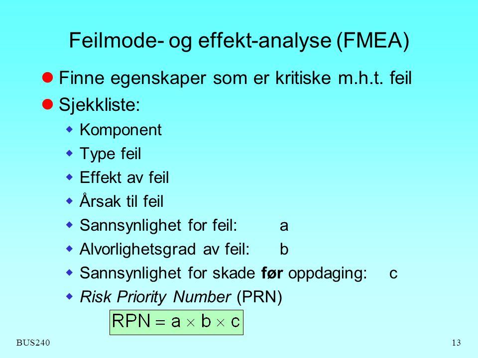 BUS24013 Feilmode- og effekt-analyse (FMEA) Finne egenskaper som er kritiske m.h.t. feil Sjekkliste:  Komponent  Type feil  Effekt av feil  Årsak