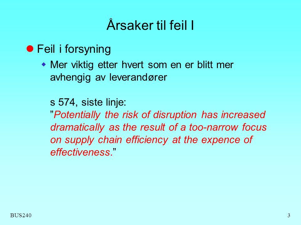 """BUS2403 Årsaker til feil I Feil i forsyning  Mer viktig etter hvert som en er blitt mer avhengig av leverandører s 574, siste linje: """"Potentially the"""