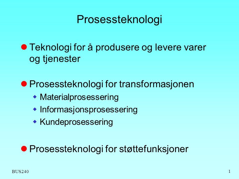 BUS240 1 Prosessteknologi Teknologi for å produsere og levere varer og tjenester Prosessteknologi for transformasjonen  Materialprosessering  Inform