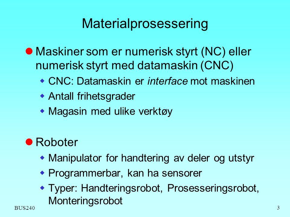 BUS240 3 Materialprosessering Maskiner som er numerisk styrt (NC) eller numerisk styrt med datamaskin (CNC)  CNC: Datamaskin er interface mot maskine