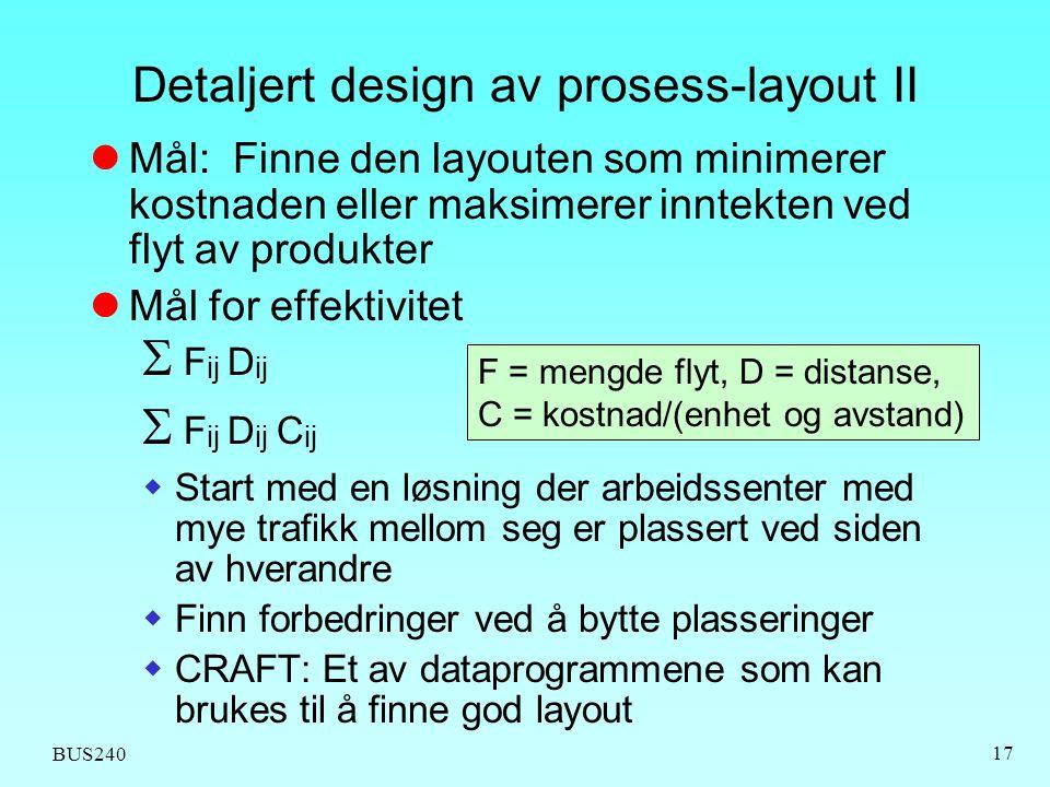 BUS240 17 Mål: Finne den layouten som minimerer kostnaden eller maksimerer inntekten ved flyt av produkter Mål for effektivitet  F ij D ij  F ij D i