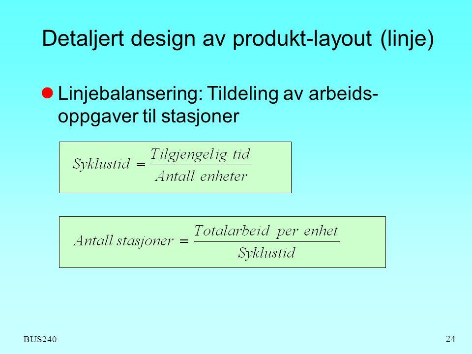 BUS240 24 Detaljert design av produkt-layout (linje) Linjebalansering: Tildeling av arbeids- oppgaver til stasjoner