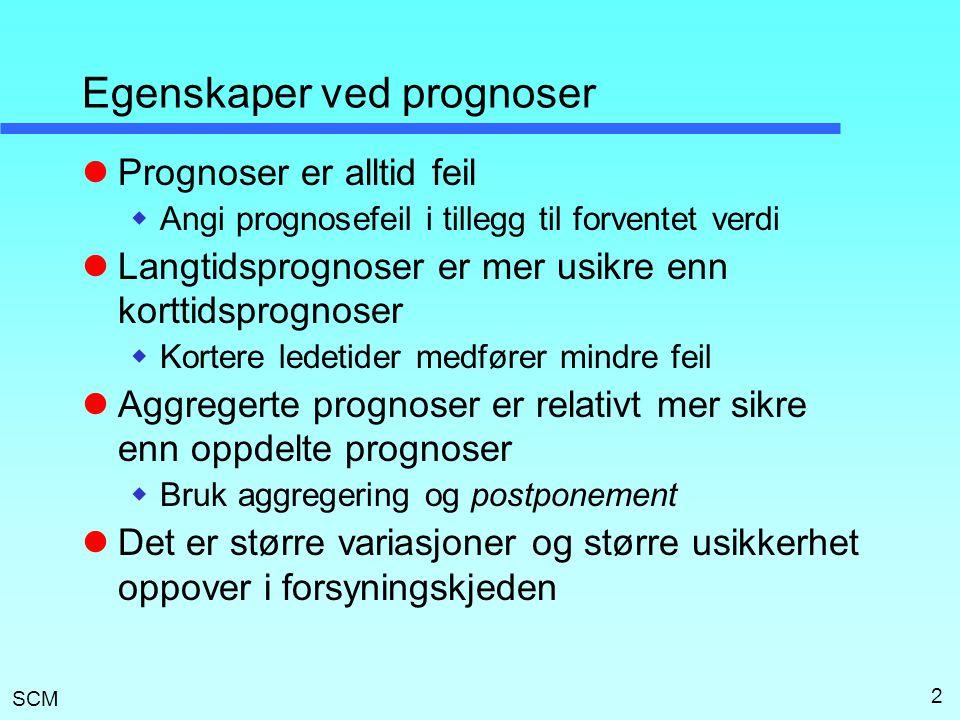 SCM 2 Egenskaper ved prognoser Prognoser er alltid feil  Angi prognosefeil i tillegg til forventet verdi Langtidsprognoser er mer usikre enn korttids