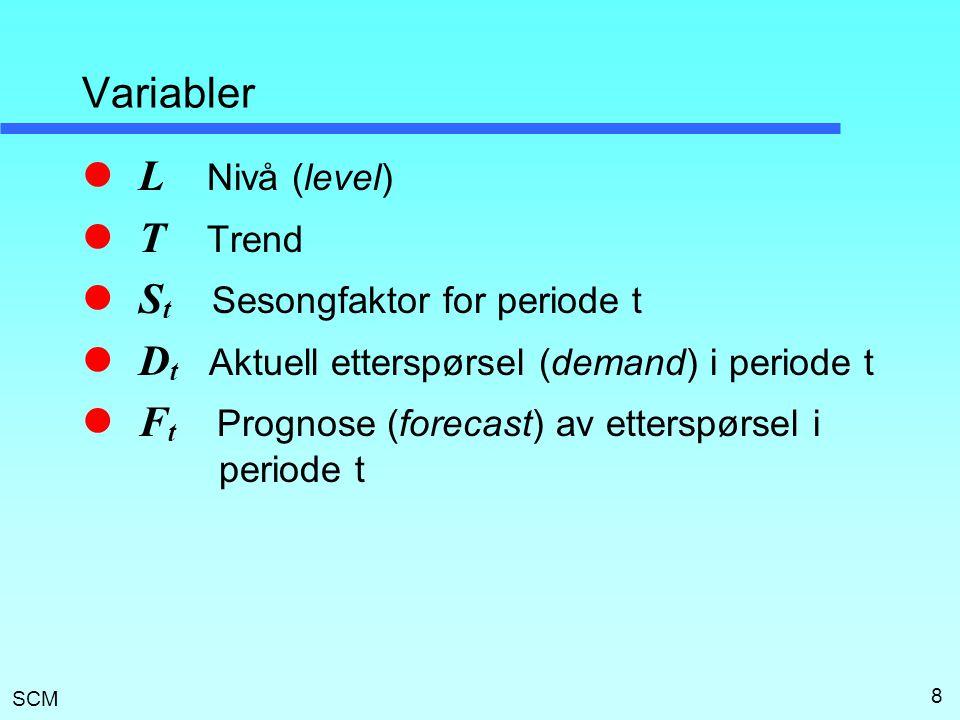 SCM 8 Variabler L Nivå (level) T Trend S t Sesongfaktor for periode t D t Aktuell etterspørsel (demand) i periode t F t Prognose (forecast) av ettersp