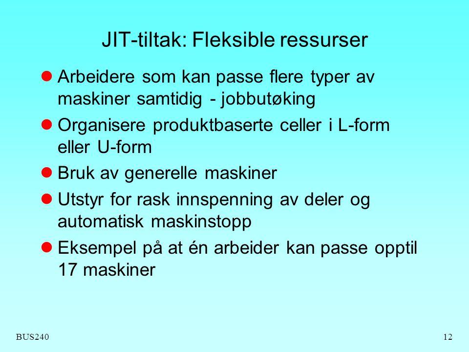 BUS24012 JIT-tiltak: Fleksible ressurser Arbeidere som kan passe flere typer av maskiner samtidig - jobbutøking Organisere produktbaserte celler i L-f