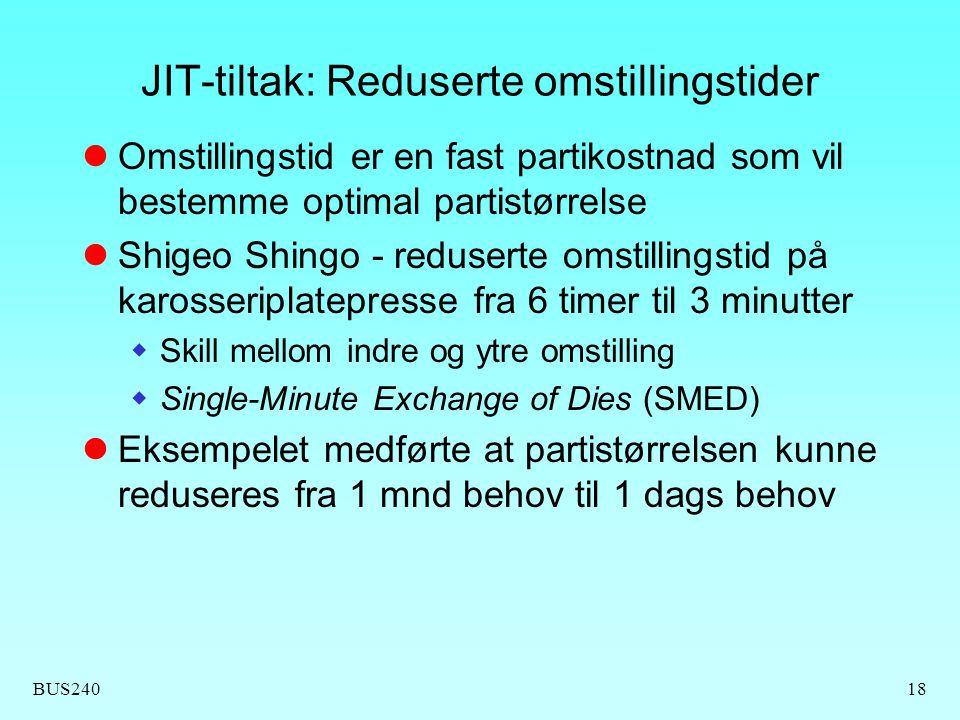BUS24018 JIT-tiltak: Reduserte omstillingstider Omstillingstid er en fast partikostnad som vil bestemme optimal partistørrelse Shigeo Shingo - reduser