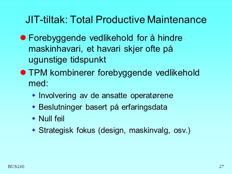 BUS24027 JIT-tiltak: Total Productive Maintenance Forebyggende vedlikehold for å hindre maskinhavari, et havari skjer ofte på ugunstige tidspunkt TPM