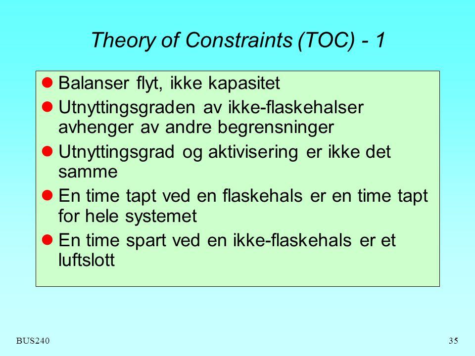 BUS24035 Theory of Constraints (TOC) - 1 Balanser flyt, ikke kapasitet Utnyttingsgraden av ikke-flaskehalser avhenger av andre begrensninger Utnytting