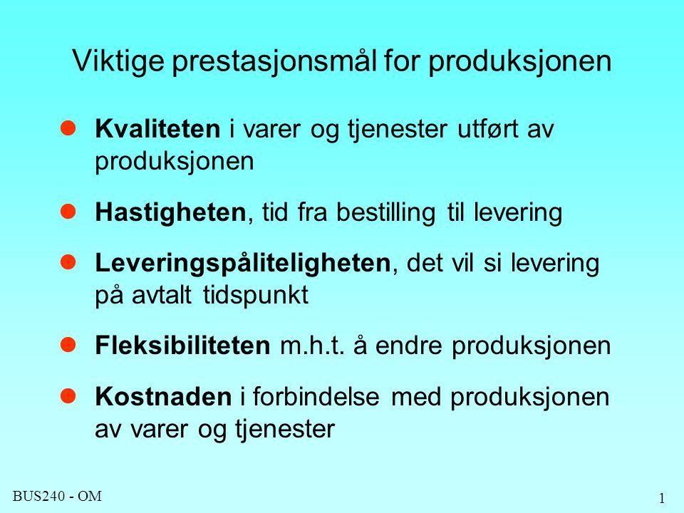 BUS240 - OM 1 Viktige prestasjonsmål for produksjonen Kvaliteten i varer og tjenester utført av produksjonen Hastigheten, tid fra bestilling til levering Leveringspåliteligheten, det vil si levering på avtalt tidspunkt Fleksibiliteten m.h.t.