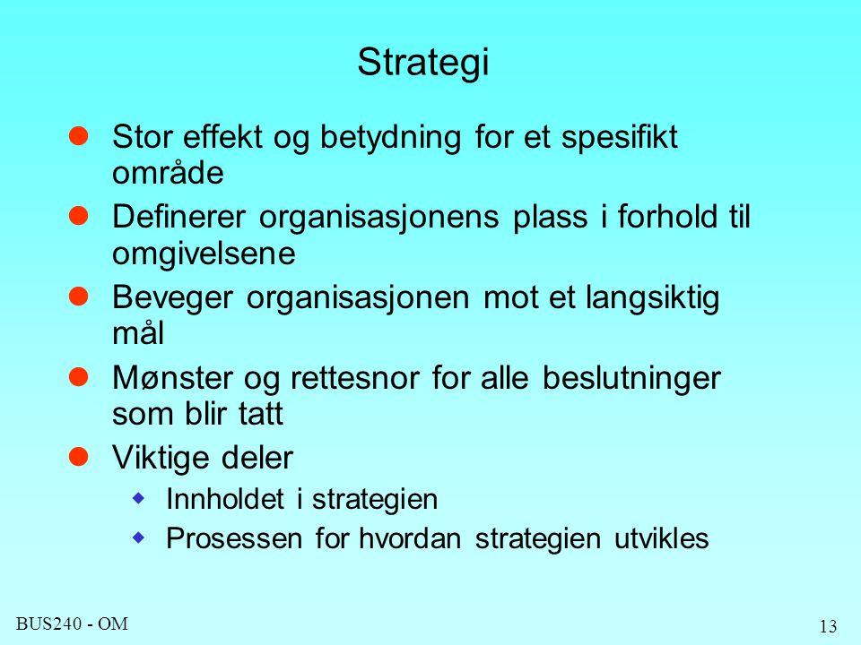 BUS240 - OM 13 Strategi Stor effekt og betydning for et spesifikt område Definerer organisasjonens plass i forhold til omgivelsene Beveger organisasjonen mot et langsiktig mål Mønster og rettesnor for alle beslutninger som blir tatt Viktige deler  Innholdet i strategien  Prosessen for hvordan strategien utvikles