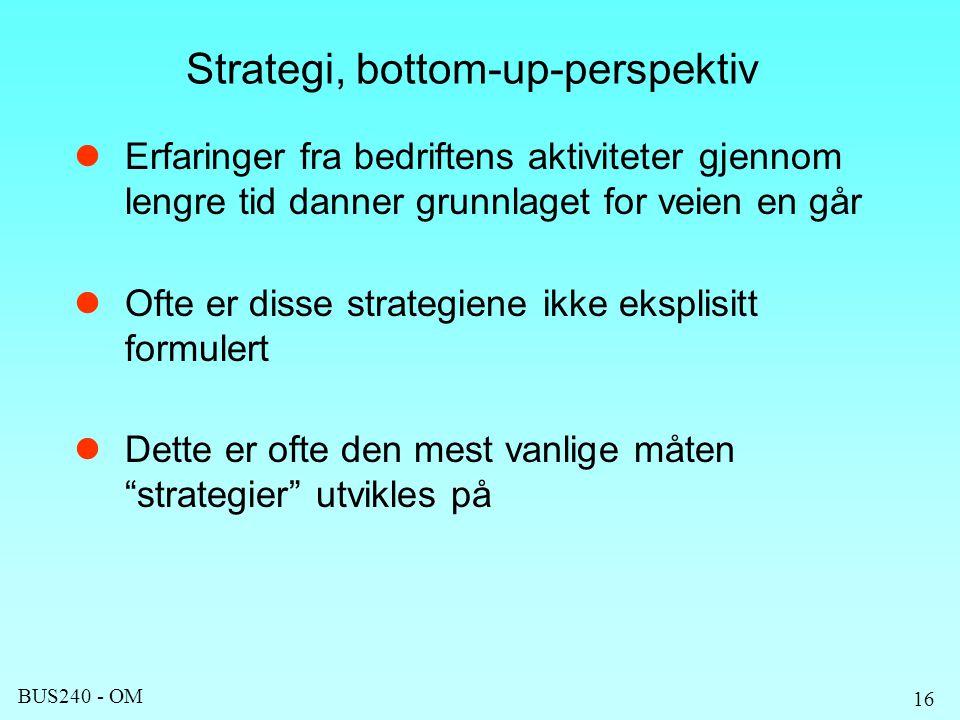 BUS240 - OM 16 Strategi, bottom-up-perspektiv Erfaringer fra bedriftens aktiviteter gjennom lengre tid danner grunnlaget for veien en går Ofte er disse strategiene ikke eksplisitt formulert Dette er ofte den mest vanlige måten strategier utvikles på