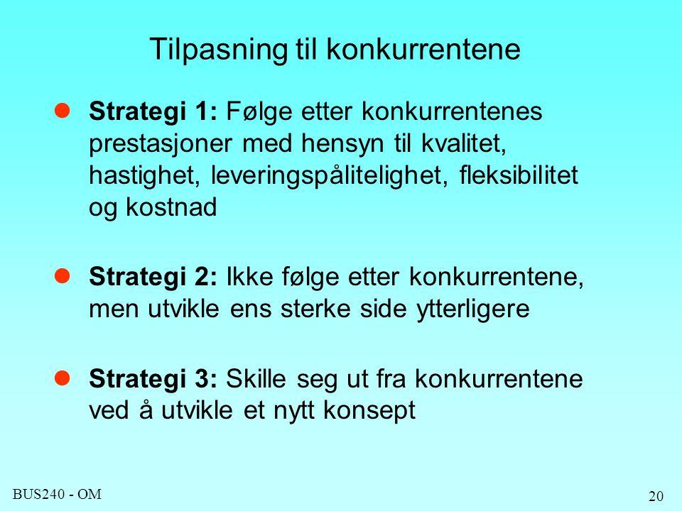BUS240 - OM 20 Tilpasning til konkurrentene Strategi 1: Følge etter konkurrentenes prestasjoner med hensyn til kvalitet, hastighet, leveringspålitelighet, fleksibilitet og kostnad Strategi 2: Ikke følge etter konkurrentene, men utvikle ens sterke side ytterligere Strategi 3: Skille seg ut fra konkurrentene ved å utvikle et nytt konsept