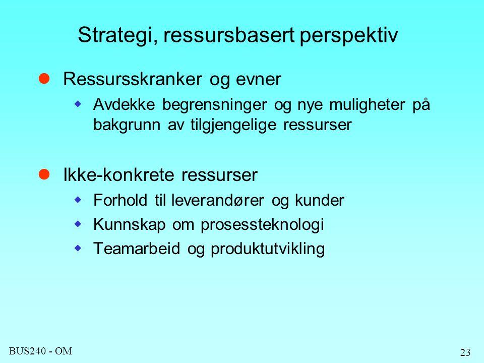 BUS240 - OM 23 Strategi, ressursbasert perspektiv Ressursskranker og evner  Avdekke begrensninger og nye muligheter på bakgrunn av tilgjengelige ressurser Ikke-konkrete ressurser  Forhold til leverandører og kunder  Kunnskap om prosessteknologi  Teamarbeid og produktutvikling