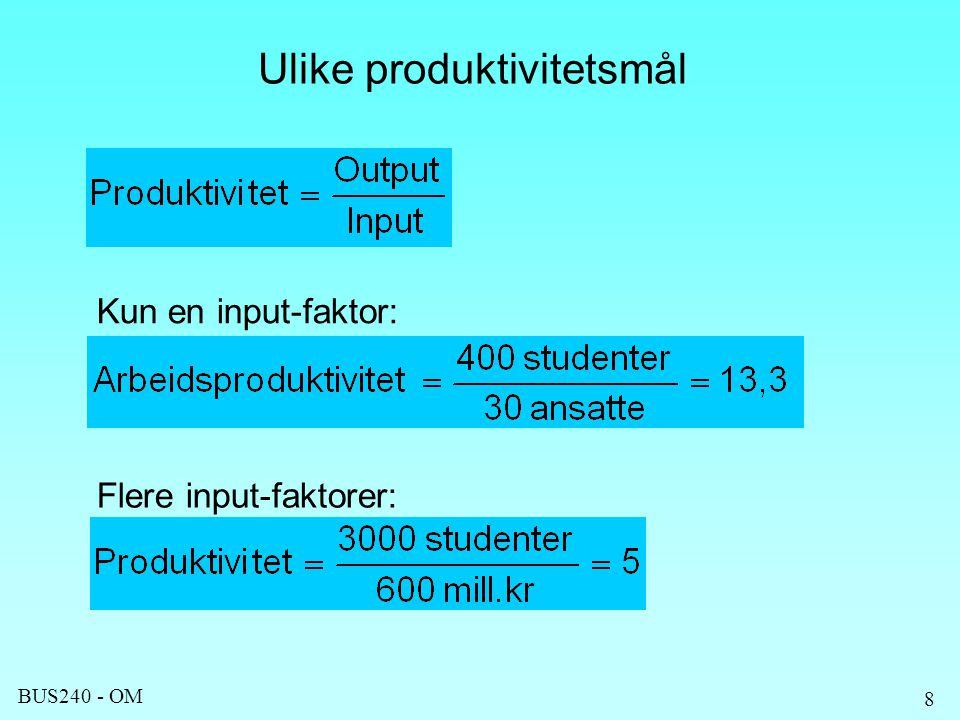 BUS240 - OM Ulike produktivitetsmål 8 Kun en input-faktor: Flere input-faktorer: