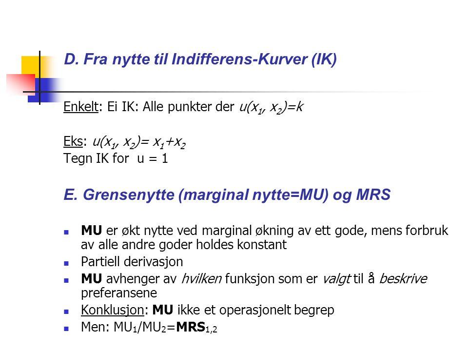 D. Fra nytte til Indifferens-Kurver (IK) Enkelt: Ei IK: Alle punkter der u(x 1, x 2 )=k Eks: u(x 1, x 2 )= x 1 +x 2 Tegn IK for u = 1 E. Grensenytte (