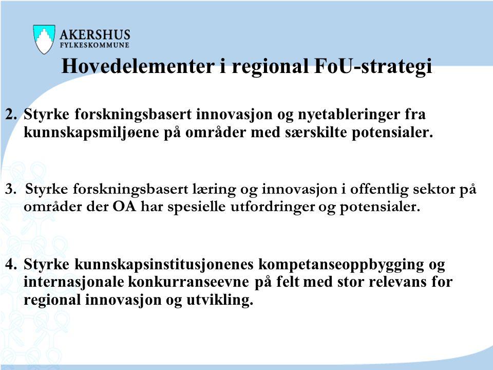 Hovedelementer i regional FoU-strategi 1. FoU-strategien skal styrke forskningsbasert innovasjon i eksisterende bedrifter på områder med særskilte pot