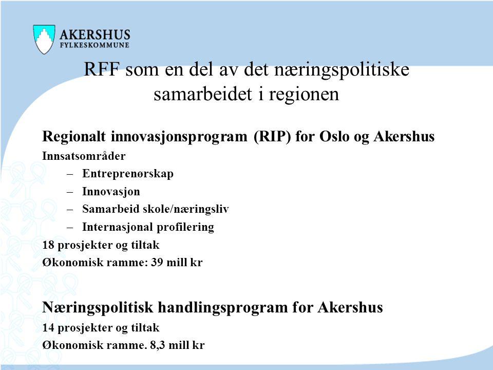 RFF som en del av det næringspolitiske samarbeidet i regionen Virkemidler for regional innovasjon (VRI) Delprosjekter –Fornybar energi –Maritim –IKT –